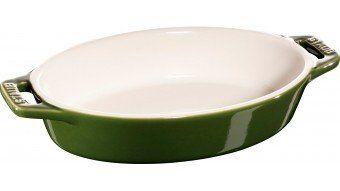 Owalny półmisek ceramiczny Staub - zielony